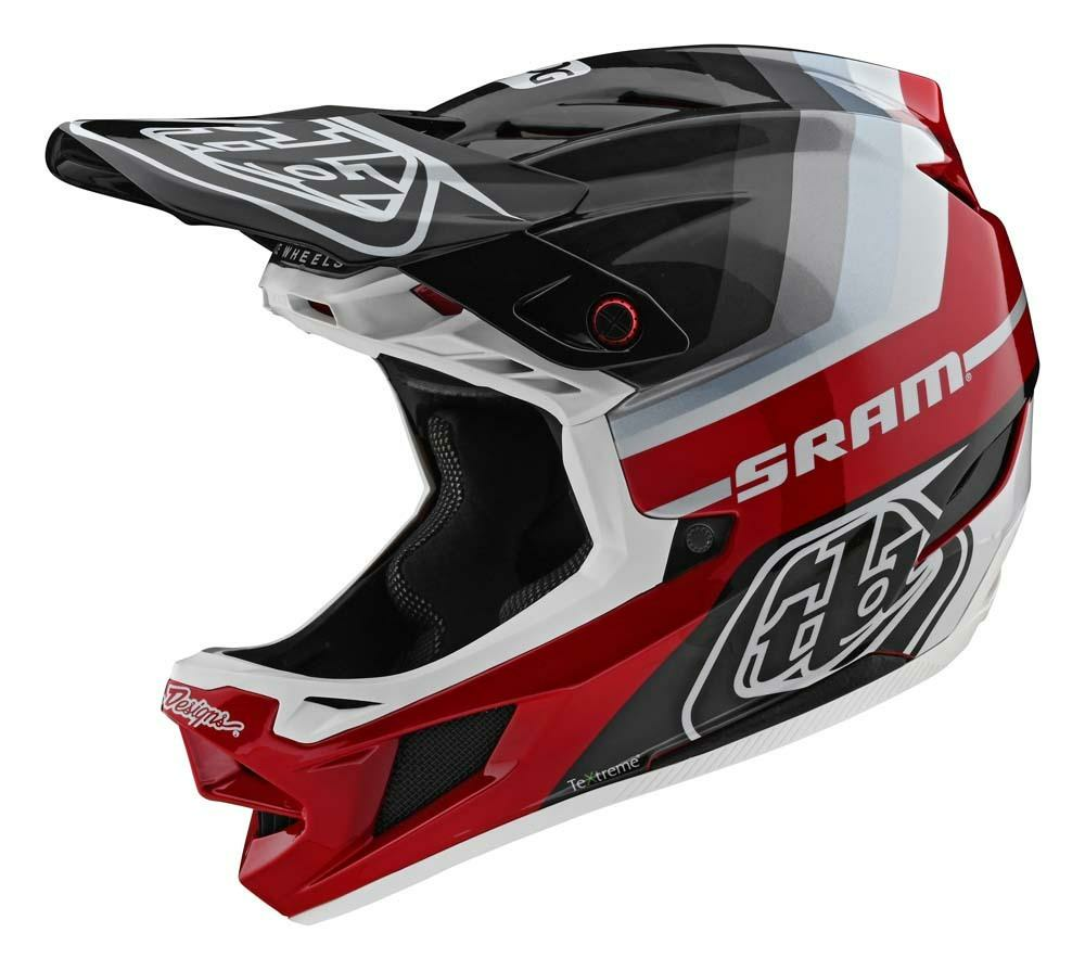 Troy Lee Designs D4 Carbon Fullface Helm schwarz/rot