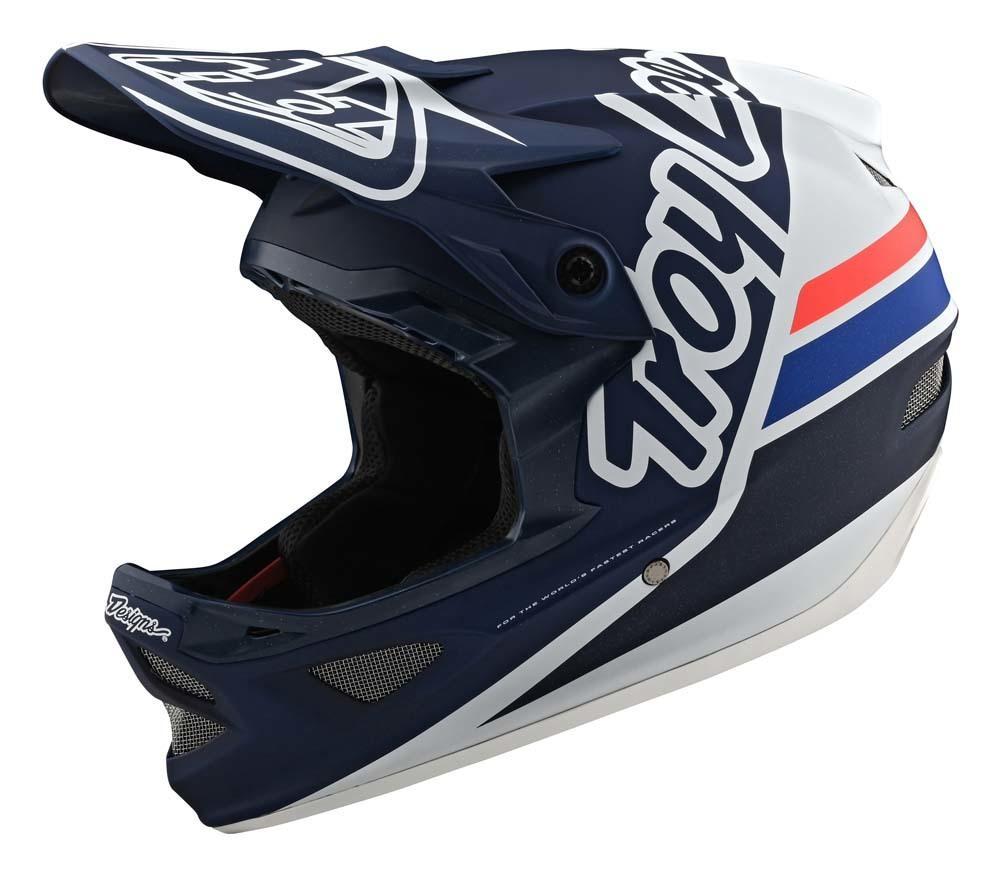 Troy Lee Designs D3 Fiberlite Fullface Helm navy/grau